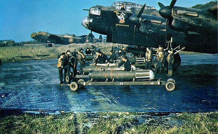 A Lancaster being loaded with sea mines. RAF Syerston 1942