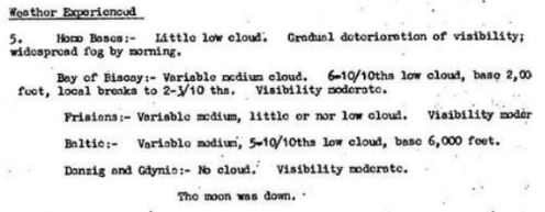 Extract of weather condition from Night Bomber Report, March 1943
