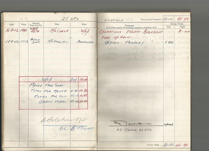 Harry Riding's RAF Log Book