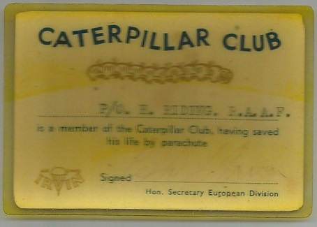 Harry Riding's Caterpillar Club Membership Card