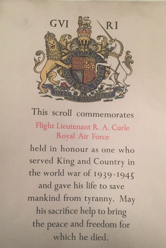Honour scroll dedicated to the ultimate sacrifice given by Flight Lieutenant Richard Curle RAFVR