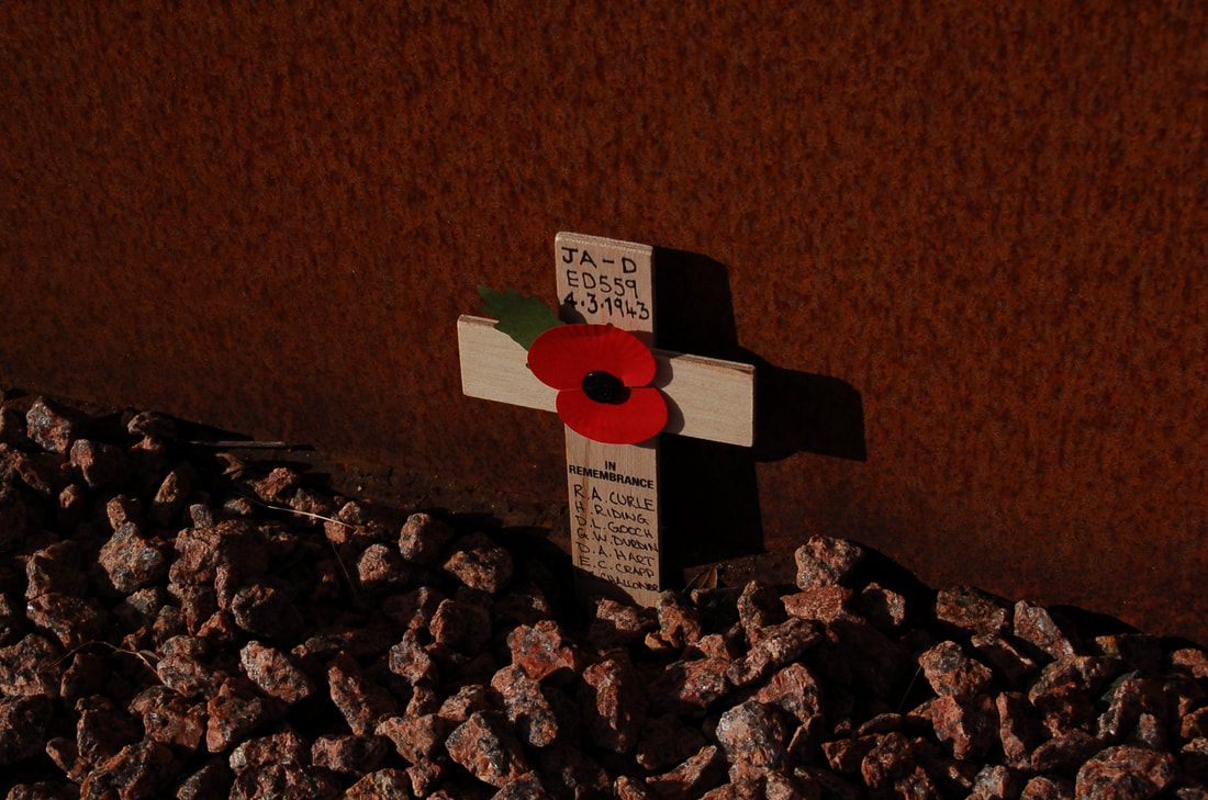 Remembrance cross to the crew of Lancaster ED559 at the IBCC, Lincoln 2018.