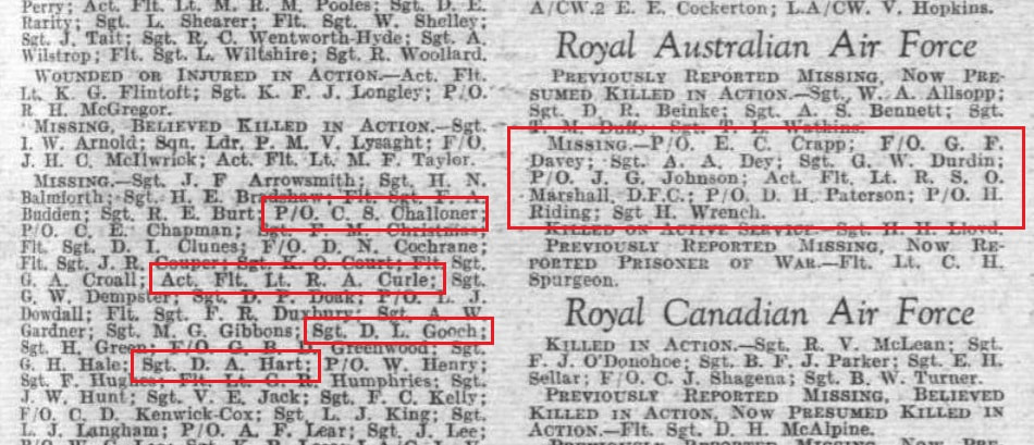Names of the missing crew recorded in the 29 April 1943 Edition of Flight magazine.