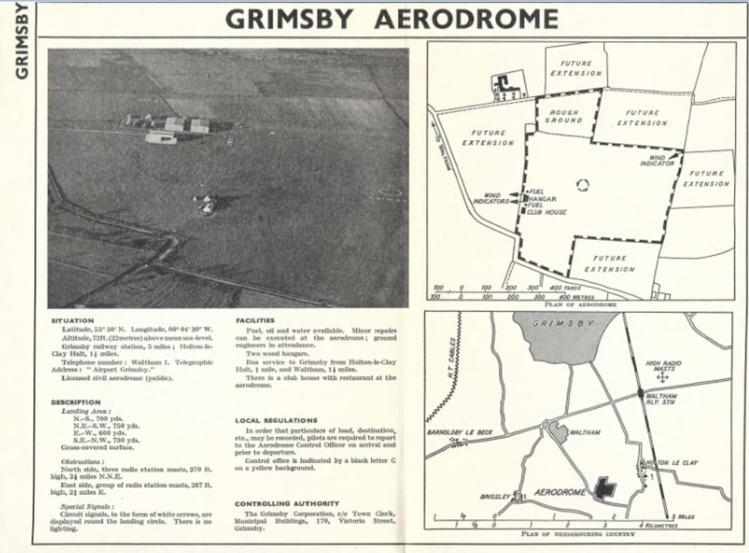 Details for Grimsby Aerodrome (Waltham Airfield), Lincolnshire. The airfield later became RAF Station Grimsby during the second world war.