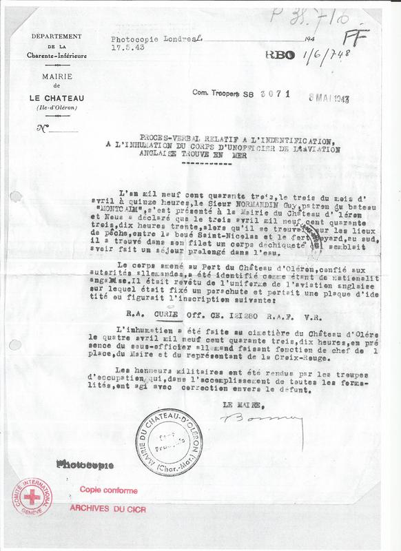 Red Cross letter detailing the collection and burial of Richard Curle, April 1943.