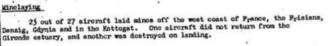 Minelaying extract from Night Bomber Report for March 1943.